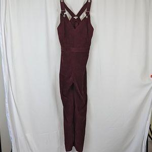En creme burgundy corduroy overalls